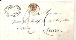 Lettre De BEAUNE Pour SEURRE Du 22 Août 1848 - Postmark Collection (Covers)