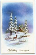 Gelukkig Nieuwjaar - Bonne Année - Un Faon Dans La Neige Regarde La Maison Entre Les Sapins - écrite Et Timbrée 2 Scans - Nouvel An