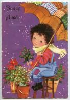 Bonne Année - Un Garçon Sur Un Tabouret Vend Du Houx Et Du Gui Sous Un Parapluie - écrite Et Timbrée 2 Scans - Nouvel An