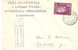FIRTS FLIGHT  1939 VAASA-STOCKHOLM - Cartas