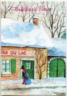 Meilleurs Vœux - Un Couple Marche Devant L´auberge Du Lac, Toits Enneigés - écrite Pour Jeu-concours 2 Scans - Nouvel An