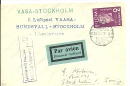 FIRTS FLIGHT  1939 VAASA-STOCKHOLM - Finlandia