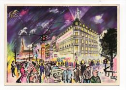 Danemark--COPENHAGUE--The Alexandra Hotel Facing The Town Hall Square (illustrateur Signée Dueholm) - Danemark