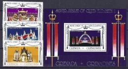 FAMILIAS REALES / GRENADA GRENADINES 1977 #Yvert 191A/193A + H26**  Precio Cat. €9.50 - Familias Reales