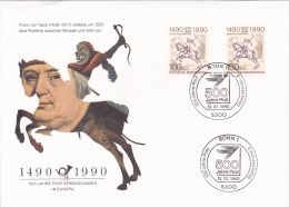 POSTVERBINDUNGEN IN EUROPA,FDC COVER,1990,BONN,GERMANY - [7] République Fédérale