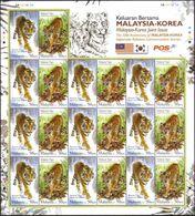 Malaysia 2010 S#1283 Malaysia-Korea Diplomatic Relations - Tiger Full Sheet MNH Fauna Joint Issue - Malaysia (1964-...)