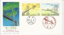 JAPAN. Great Seto Bridge Connecting Okayama & Kagawa.13.1 Km. FDC (NCC) Edition - Ponti