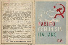 TESSERA PCI PARTITO COMUNISTA ITALIANO 1953 CARBONIA SARDEGNA SEZIONE STALIN - Historical Documents