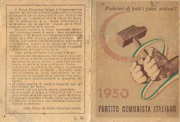 Documenti Storici - TESSERA PCI PARTITO COMUNISTA ITALIANO 1954 ...