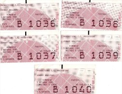 00 - D - 5 TICKETS D´ENTREE - JOHNNY HALLIDAY - PALAIS DES SPORTS DU 3 OCTOBRE 1982 - CE GRUNDIG - Tickets D'entrée