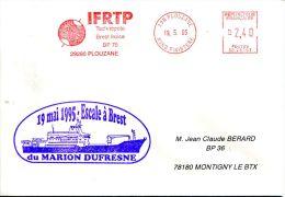 N°278 B -pli Avec Oblitération Mécanique IFRTP Et Tampon Escale à Brest Du Marion Dufresne- - Storia Postale