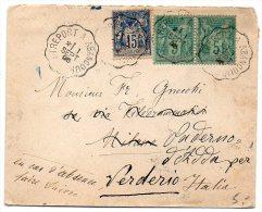Sage 15c + 5c X2 Sur Lettre De 1896 Pour L'Italie - CaD De Convoyeur 'Tréport à Abancourt' - Marcophilie (Lettres)
