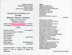Eeckhout Edmond Honore Anckaert Delforce Wittouck Roeselare Bidprentje Doodsprentje - Religione & Esoterismo