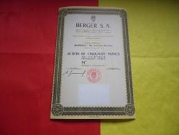 BERGER S.A. (action 50 Francs) 15 Novembre 1971 - Non Classificati