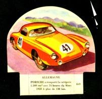 Chromo Grosjean La Vache Serieuse Voiture Allemagne Porsche 24 Heures Du Mans 1953 Etat Neuf - Chromos