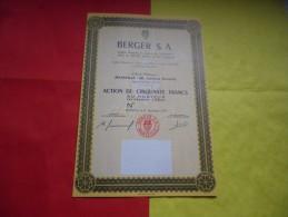 BERGER S.A. (action 50 Francs) 21 Novembre 1973 - Non Classificati