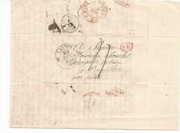 Lettre De LAUNOY Pour BOUILLON  Du 22 Décembre 1838 . Cachets 1R Rouge Et France Par Bouillon .Sedan Passage  Noir. - France