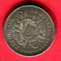 § UN BOLIVIANO 1870  ( KM  155.3 ) TB+ 75 - Bolivia
