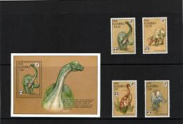 Gambia 1992 Mi. 1408-09 1412-13 And Block 163 MNH, Prehistoric Animals Cetiosaurus Camptosaurus Ornithomimus Kentosaurus - Gambie (1965-...)