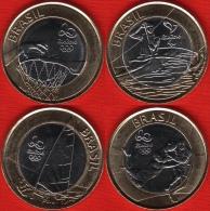 "Brazil Set Of 4 Coins: 1 Real 2015 ""Rio Olympics 2016"" BiM. UNC - Brésil"