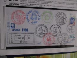 E.esa Ariane 44 L V 50eme Tir 15/4/92 Cachet Des Stations Kourou Et Cayenne Signée N° 85 Lollini - Unclassified