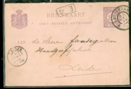 HANDGESCHREVEN BRIEFKAART Uit 1896 Gelopen Van AMSTERDAM Naar LEIDEN  (10.059w) - Postal Stationery