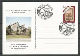 CARTE COMMEMORATIVE 50e JOURNEE DU TIMBRE MONDERCANGE TP N° 1280 (CACHET POSTAL DE MONDERCANGE) (SCAN VERSO) - Cartes Commémoratives