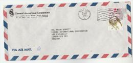 1975 Air Mail HONG KONG CINEMA  COVER Stamps 2x $1.30 BIRD  To Piccadily Cinema GB Movie Film Birds China - Hong Kong (...-1997)