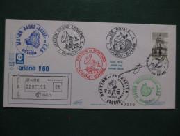 E.esa Ariane 44 LP V60 Eme Tir 22/10/93 Cachet Des Stations Kourou Et Cayenne Signée N°120 Lollini - Unclassified