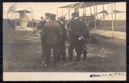 "carte-photo: biplan Wright - cachet priv� "" Ecole d'Aviation de Pau / 1909"""