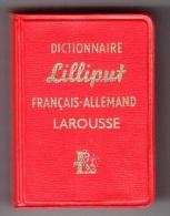 1 LE PLUS PETIT DICTIONNAIRE DU MONDE ? LILLIPUT FRANCAIS ALLEMAND LAROUSSE 3,5X5X2cm 640 PAGES ANNEE 1961 ETAT NEUF - Dictionaries