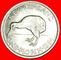 + KIWI BIRD: NEW ZEALAND ★ FLORIN 1964! DRESSED QUEEN!  MINT LUSTER! LOW START ★ NO RESERVE! - Nouvelle-Zélande