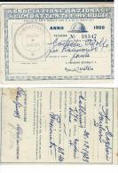 TESSERA COMBATTENTI E REDUCI CAGLIARI SARDEGNA 1961 - Historical Documents