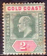 GOLD COAST 1902 SG #45 2sh MH Wmk Crown CA CV £22 Toned - Gold Coast (...-1957)