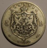 Roumanie Romania Rumänien 5 Lei 1880 Argent / Silver # 2 - Roumanie