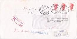 """2136+2203 Op Brief Aangetekend Met Stempel MECHELEN 4, Strookje """"Afwezig...."""" Met Naamstempel MECHELEN 2 - 1981-1990 Velghe"""