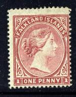 1885  Victoria 1d. Brownish Claret  Wmk Sideways   SG 8  MM - MH - Falkland Islands