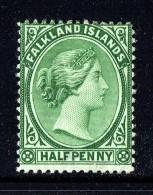 1891  Victoria   ½d.  Green  SG 16  MM - MH - Falkland Islands