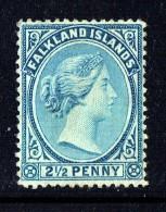 1891  Victoria   2½d.  Pale Chalky Ultramarine   SG 27  Unused - No Gum - Falkland Islands