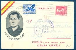 1938 , GUERRA CIVIL , SAN SEBASTIAN , TARJETA PATRIÓTICA CIRCULADA A ZÜRICH , CRUZADA CONTRA EL FRIO , PRIMO DE RIVERA. - 1931-50 Cartas