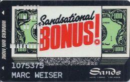 Sands Casino Las Vegas - 8th Issue Sandsational Bonus! Card - No Black Square - Casino Cards