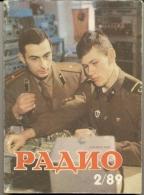 Magazine Radio № 2  For 1989 - Russia - Monthly Magazine In Russian - Literature & Schemes