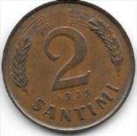 Latvia 2 Santimi 1939  K11.2  Xf++  !!!! - Lettonie