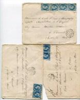 Ambulant De Jour N°969 EPERNAY A PARIS Sur 2 Env. Double Port Et 1 Env. Triple Port De 1867 - Marcophilie (Lettres)