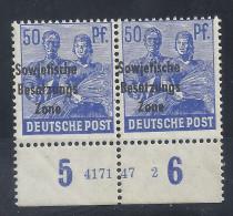 Deutschland SBZ 1948 Allgemeine Ausgabe Michel 194 HAN **, Postfrisches Unterrandpaar HAN 4171 47 2 (Michel 120.-€) - Sowjetische Zone (SBZ)