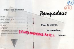 19 - POMPADOUR - DEPLIANT TOURISTIQUE -M. DUBOIS DIRECTEUR DU HARAS- ARNAC- HIPPODROME-MONASTERE- - Dépliants Touristiques
