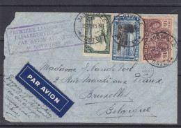 Rois de Belgique - avions - Congo Belge - lettre de 1935 - oblit Jadotville - 1er vol Elisabethville - France -