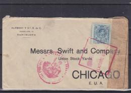 Espagne - Lettre Expédié Vers Les Etats Unis - Chicago - Lettre Ouverte Par La Poste - Cachet Rouge Autorité Militaire - 1889-1931 Koninkrijk: Alfonso XIII