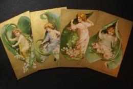 Enfant Dans Feuille/ Kind In Blad( 4 Cartes- 4 Kaarten) - Tarjetas De Fantasía