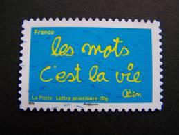 OBLITERE FRANCE 2011 N°611 SERIE TIMBRES LES MOTS DE BEN BENJAMIN VAUTIER: LES MOTS C´EST LA VIE ADHESIF - France